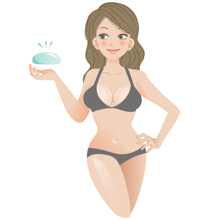 breast: Breast implant concept - Smiling young hourglass woman with silicone gel.