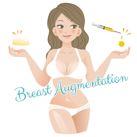 breast implant: Curvy Woman Breast Augmentation Concept with silicon and fatgraft Illustration