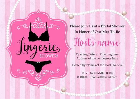 pink pearl: Lingerie shower invitation card with stripe and pearl necklace background