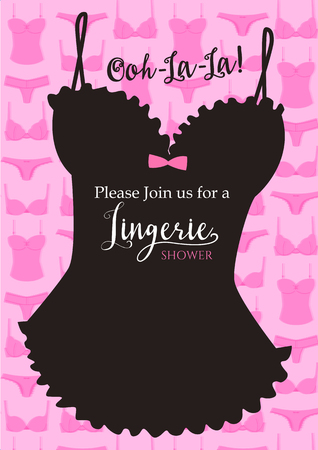 black woman lingerie: Lingerie shower with lingerie silhouette pattern