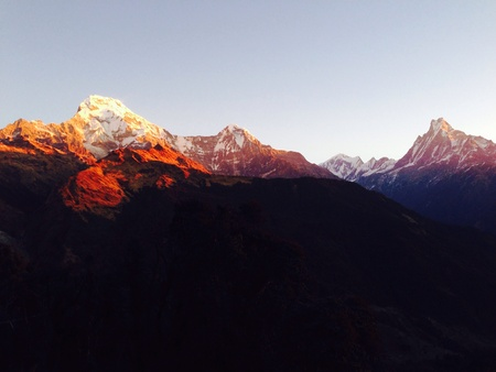fishtail: First light 2015 Annapurna south and Fishtail moutain , Nepal