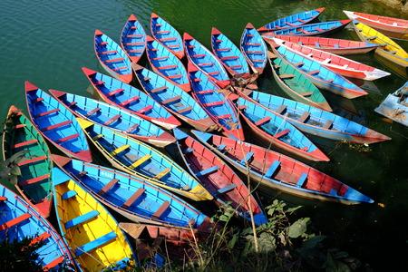 pokhara: Rowboat at Pokhara lake Stock Photo