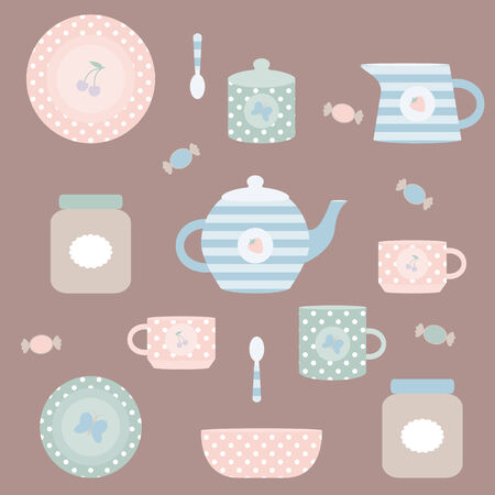 pastel colored: striped and spotted pastel colored crockery