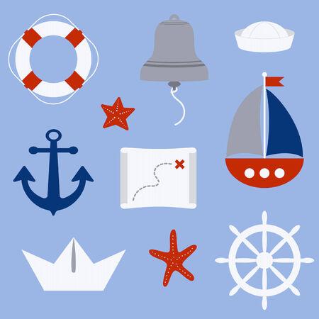 ahoy: Nautical elements in cartoon style Illustration