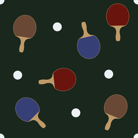 Ball and racket for table tennis on a green background Vector