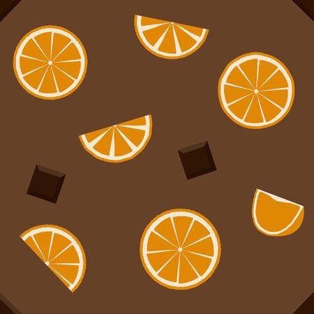 orange pattern: Chocolate and orange. Pattern seamless. Illustration