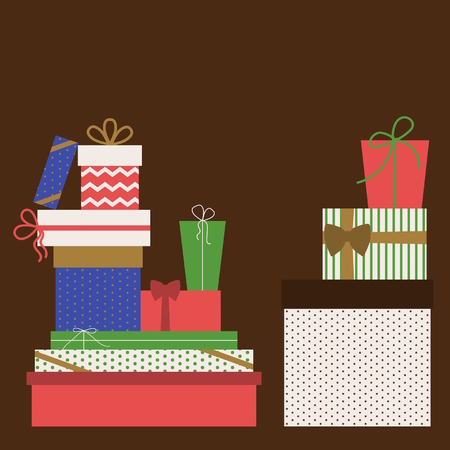 xmax: Collection of colorful Christmas present boxes