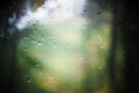 Rain droplets on window and blurred a forest with the vignetting and blur effect photo