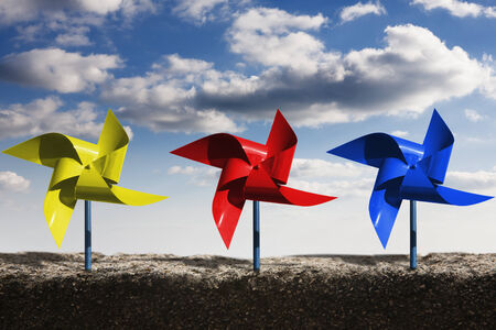 pinwheels: Pinwheels and dramatic blue sky, express the unrestrictedness and think outside the box Stock Photo
