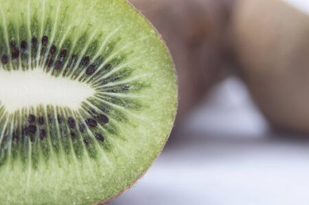 Close up shot of sliced kiwi