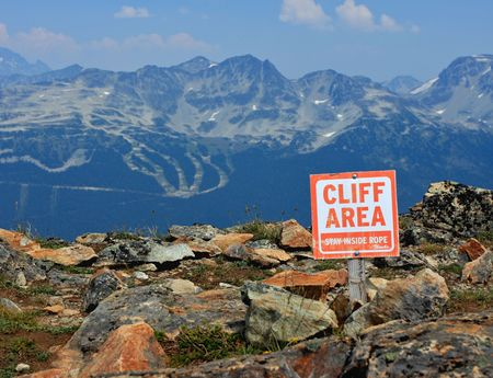 Cliff area sign. photo