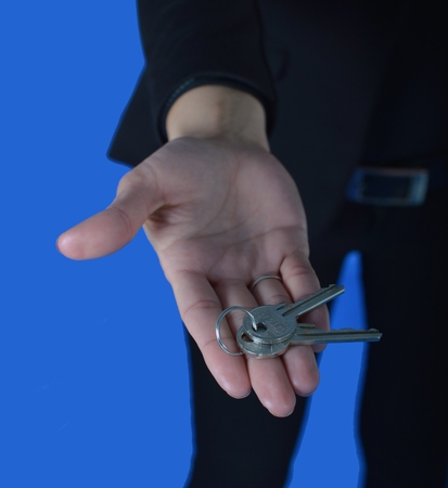 service broker: We hand you the keys to your life, apartment, house Stock Photo