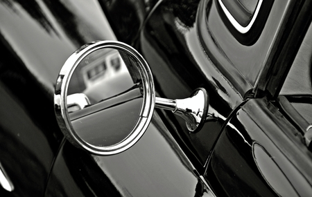 Old-fashion rearview mirror