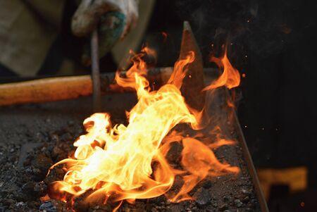 forgeman: Blacksmith furnace Stock Photo