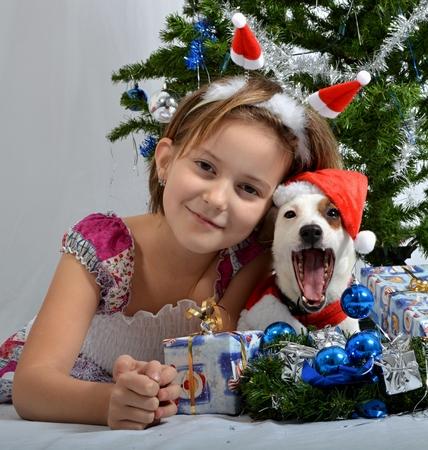 Christmas pet with girl