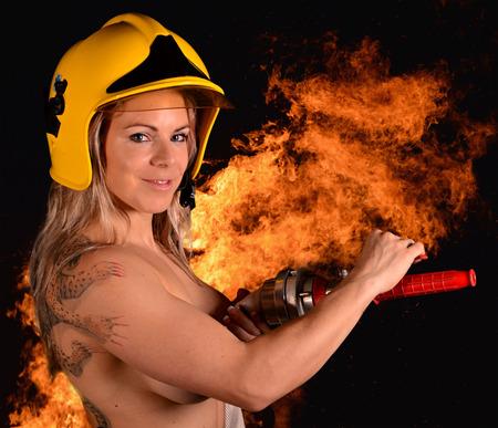 Fire woman photo
