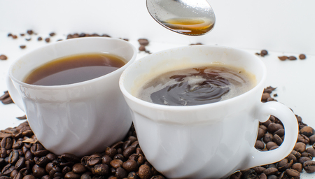 A cup of hot coffee for lifts and warmth. Stock Photo