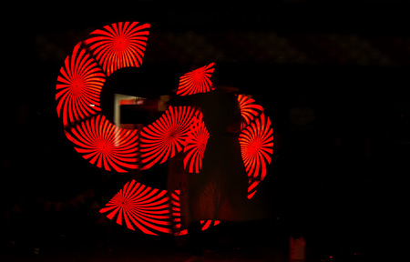 Red light show with lasers at different events. Banque d'images