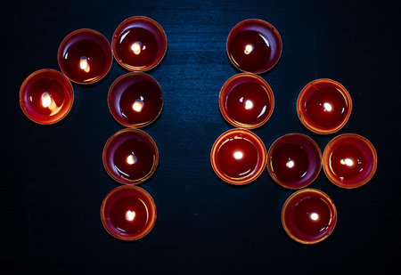 Red valentine burning candles