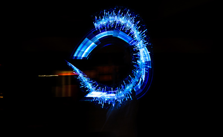 Blue light show with lasers at different events. Imagens