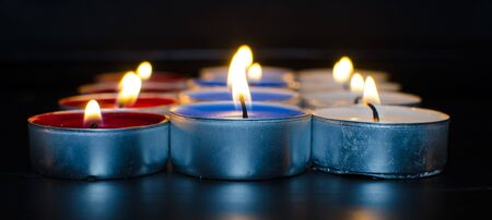 Tricolorvalentine burning candles full of love