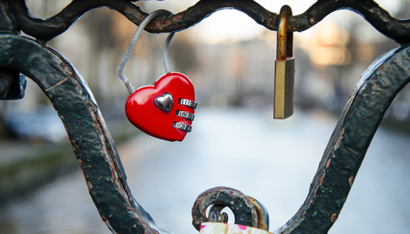 Heart shaped lock on the Amsterdam bridge
