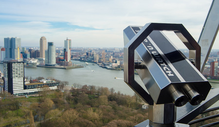View of Rotterdam from the tower at the harbor. Banque d'images