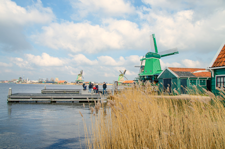 Dutch windmills in dry grass and wind