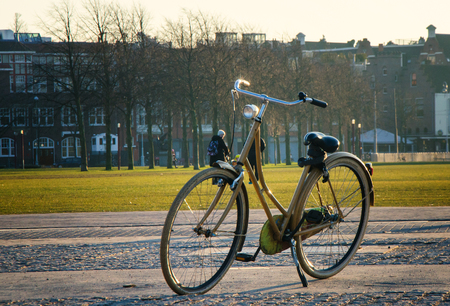 View of the classialc bicycle in Amsterdam .