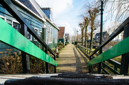 Classical Dutch houses in the Zaanse open air museum.