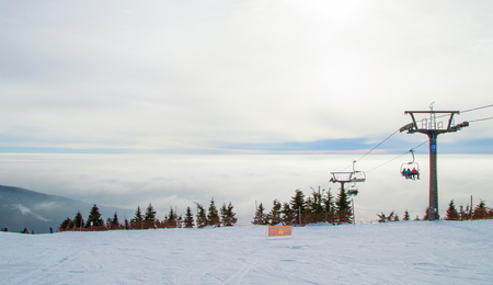 The top of the hill in the ski resort in Krkonose