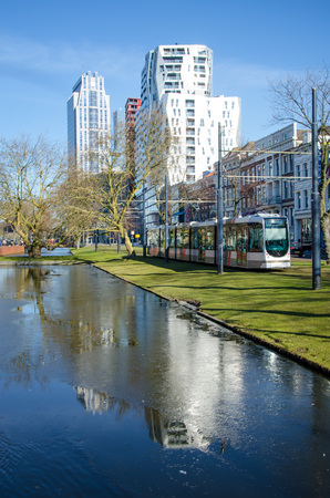 Sunny day in Rotterdam with passing tram. Stockfoto