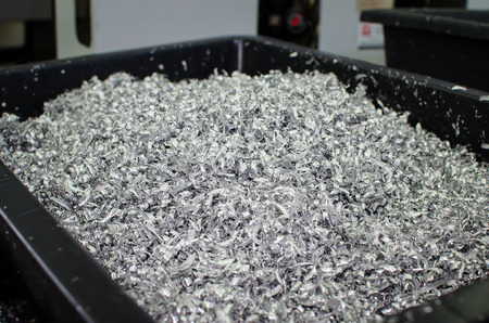 Pile of metal sawdust from cnc machining.