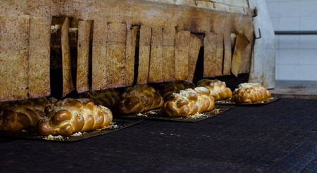 Freshly baked goldenfancy bread in a large bakery.