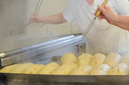 Industrial cooking of popular classical dumplings. Stock fotó