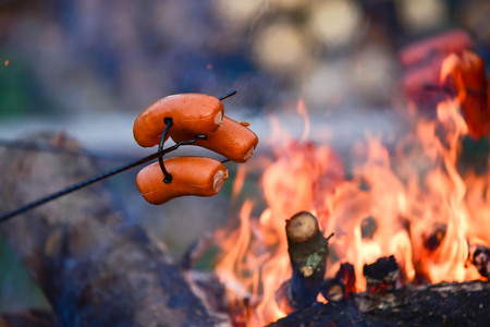 Grilling meat on a fire on a summer vacation. Stock Photo