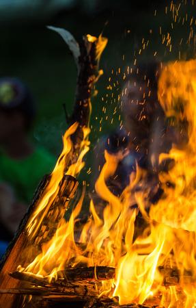 Burning wood at summer barbecue.