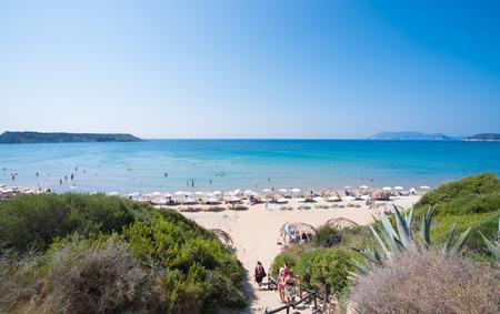Turtle beach Gerakas at island Zakynthos. Imagens