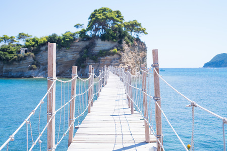 Wooden bridge on the small island of Cameo in Greece Stock fotó