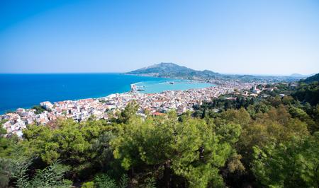 Zakynthos city and harbor from hill near the sea. Stock fotó