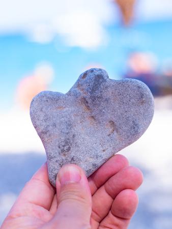 Heart shaped stone on the beach on the Greek island of Zakynthos.