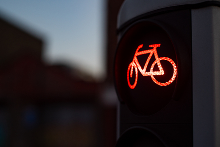 Red color at the traffic lights for cyclists.