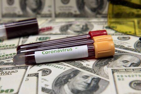 Dollars and negative test at coronavirus.
