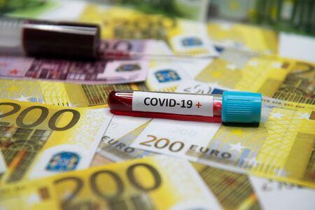 Euro money banknote as symbol economic recession..