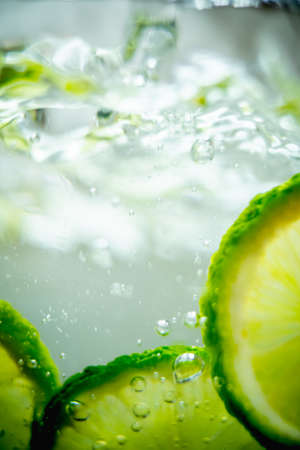 Lime in a glass of water.