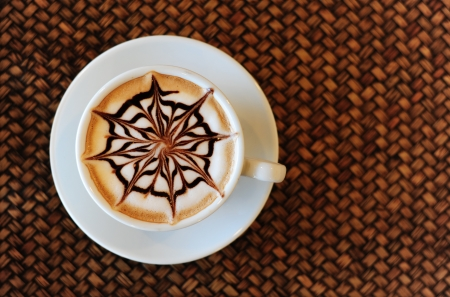 latte art: Mocha coffee drink on the wood weave