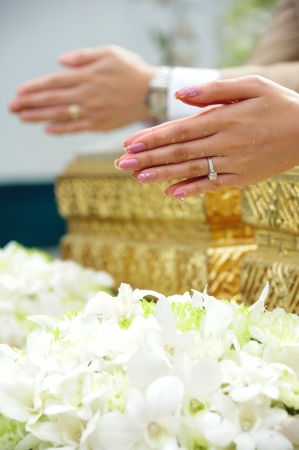 hot wife: Blessed water at Thai wedding ceremony in Thailand Stock Photo