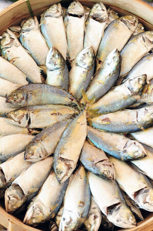 Mackerel fish in bamboo basket in Thailand photo