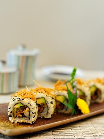 delicious Japanese sushi rolls Stock Photo