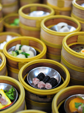chinese culture: dim sum in bamboo steamer, chinese cuisine Stock Photo